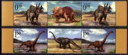 Bosnia Serbia 2009 Dinosaurs, Fauna, Triceratops, Diplodocus, Prehistorics Animals, Middle Row MNH - Bosnië En Herzegovina