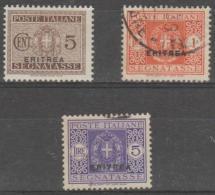 ERITREA - 1934 5c, 1L, 5L Postage Dues. Scott J15, 23, 25. One  Mint, Two Used - Eritrea