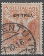 ERITREA - 1915 20c + 5c Semi Postal. Scott B3. Used - Eritrea