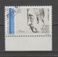 """FRANCE / 1991 / Y&T N° 2685 : """"Poètes Français"""" (Jacques Prévert) - Choisi - Cachet Rond - Frankreich"""