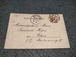 RARE AUSTRIA STATIONERY CARD OLMUTZ TO WIEN 1898 - Ganzsachen