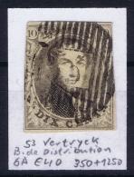 Belgium:  OBP Nr 6  Cancel 55 Waerschoot Distribution - 1851-1857 Médaillons (6/8)