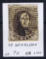 Belgium:  OBP Nr 6  Cancel 47 Gembloux - 1851-1857 Médaillons (6/8)