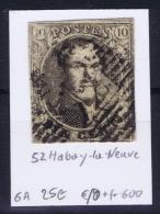 Belgium:  OBP Nr 6  Cancel 52  Habay-La-Neuve - 1851-1857 Médaillons (6/8)