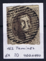 Belgium:  OBP Nr 6  Cancel 162 Tamines - 1851-1857 Médaillons (6/8)