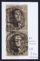 Belgium:  OBP Nr 6  Cancel  51 Grammont  Pair - 1851-1857 Médaillons (6/8)