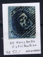 Belgium:  OBP Nr 7 Cancel  69 Hansbeke Distribution - 1851-1857 Médaillons (6/8)