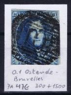 Belgium:  OBP Nr 6  Cancel  O.I Oostende  - Bruxelles Ambulant - 1851-1857 Médaillons (6/8)