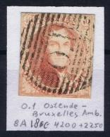 Belgium:  OBP Nr 8  Cancel O.I Ostende Bruxelles Ambulant - 1851-1857 Médaillons (6/8)