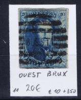 Belgium OBP Nr 11 Cancel Nr Quest Brux - 1858-1862 Medaillen (9/12)