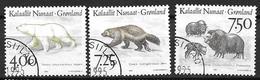 Groënland 1995 N°253/255 Oblitérés Animaux Nordiques Ours, Glouton Et Boeuf Musqué - Groenlandia