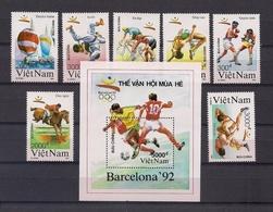 VIETNAM 1992 - BARCELONA 92 OLYMPICS - YVERT 1164/70 + BLOCK 62 - Ciclismo