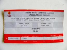 Entry Ticket From Georgia Football Match FIFA UEFA 2013/2014 Dila Gori Rapid Wien Austria - Tickets D'entrée