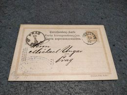 AUSTRIA STATIONERY CARD HUSIATYN  UCRANIA TO PRAHA OCCUPATION 1898 - Interi Postali