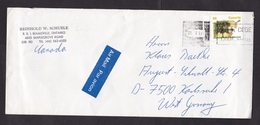Canada: Airmail Cover To Germany, 1993, 1 Stamp, Incorrect Cancel, Mistake, Error, Curiosity (traces Of Use) - 1952-.... Regering Van Elizabeth II
