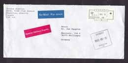 Canada: Express Airmail Cover To Germany, 1993, ATM Machine Label, Square Cancel Edmonton, Expres Label (traces Of Use) - 1952-.... Regering Van Elizabeth II