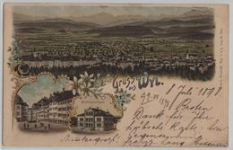 Gruss Aus Wyl - Gesamtansicht, Mädchenschule - Litho Carl Künzli No. 1203 - SG St. Gall