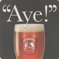 """UNUSED BEERMAT - McEWANS BREWERY (EDINBURGH, SCOTLAND) - """"AYE"""" Q - (Cat 220) -(2010) - Bierviltjes"""