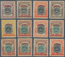 05010 Brunei: 1906, Labuan Stamps With Red Opt. 'BRUNEI' Complete Set Of 12 Mint Hinged With A Few Stamps - Brunei (1984-...)
