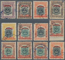 05011 Brunei: 1906, Labuan Stamps With Red Opt. 'BRUNEI' Complete Set Of 12 Fine Used Incl. 10c. From Lowe - Brunei (1984-...)