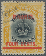 05012 Brunei: 1906, Labuan Stamp 4c. On 12c. Black And Yellow With Red Opt. 'BRUNEI' With Variety 'line Th - Brunei (1984-...)