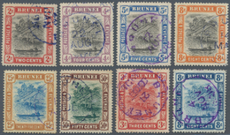 05013 Brunei: 1907/1908, Group With 8 Different Used Stamps, All With Single Circle Cancellation BRUNEI In - Brunei (1984-...)