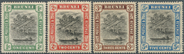 05014 Brunei: 1907, 'Huts And Canoe' Four Different Stamps 1c. To 3c. And 5c. All With REVERSED WATERMARK, - Brunei (1984-...)