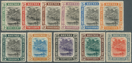 05016 Brunei: 1907, 'Huts And Canoe' Complete Set Of 11 Mint Hinged, SG. £ 200 - Brunei (1984-...)
