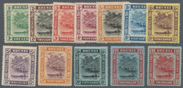 05018 Brunei: 1908/1916, 'Huts And Canoe' Colour Changes Complete Set Of 12 To $5 Mint Hinged, SG. £ 250 - Brunei (1984-...)