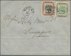 05019 Brunei: 1912, 1 C Green And 2 C Black And Brown, Mixed Franking On Cover With Single Circle Dater BR - Brunei (1984-...)
