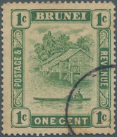 05020 Brunei: 1911, 'Huts And Canoe' 1c. Green Single Plate With WATERMARK ERROR 'C' Missing From Wmk., Us - Brunei (1984-...)