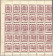 05023 Brunei: 1912, 'Huts And Canoe' 4c. Claret Part Sheet Of 30 With Margins On Three Sides, MNH But Tone - Brunei (1984-...)