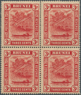 05025 Brunei: 1916, 'Huts And Canoe' 3c. Scarlet Single Plate Block Of Four Mint Hinged With Toned Gum, Sc - Brunei (1984-...)
