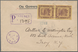 05026 Brunei: 1912, 10 C Purple/yellow, Vertical Pair As Multiple Franking On Registered Cover With Violet - Brunei (1984-...)