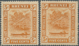 05028 Brunei: 1916, 'Huts And Canoe' 5c. Orange With RETOUCHED '5c' Mint Lightly With Small Creases, With - Brunei (1984-...)