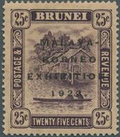 05033 Brunei: 1922, Malaya-Borneo Exhibition 25c. Deep Dull Purple With REVERSED Watermark, Mint Hinged Wi - Brunei (1984-...)