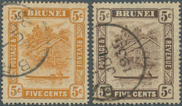 05036 Brunei: 1924/1933, 'Huts And Canoe' 5c. Orange And 5c. Brown Both With Variety 'RETOUCHED 5c', Very - Brunei (1984-...)
