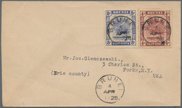 05037 Brunei: 1928, 4 C Maroon And 8 C Ultramarine, Mixed Franking On Cover With Cds BRUNEI, 4 APR 1928 (P - Brunei (1984-...)