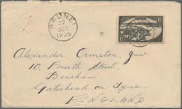 05038 Brunei: 1929, 6 C Black, Single Franking On Cover With Cds BRUNEI, 22 OCT 1929 (Proud Type D7), Sent - Brunei (1984-...)