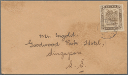 05045 Brunei: 1939, 5 C Chocolate, Single Franking On Cover With Cds BRUNEI, 3 MAY 1939, Sent To Singapore - Brunei (1984-...)
