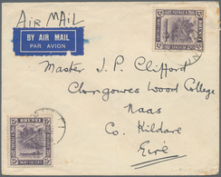 05049 Brunei: 1938, 2 X 25 C Slate-purple, Multiple Franking On Double Rate Imperial Airways Airmail Cover - Brunei (1984-...)