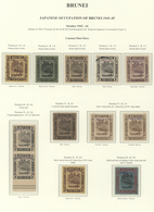 05051 Brunei: 1942/44, Study Of Constant Plate Flaws On Basic Stamps (12) 1 C.-$1 Inc. 1 C. With Red Ovpt. - Brunei (1984-...)