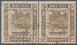 05055 Brunei: 1942, Blue Overprint: Horizontal Pair With Left Double Ovpt. (one Inverted) And Right Normal - Brunei (1984-...)