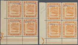 05063 Brunei: Japanese Occupation, 1942, Blocks Of Four MNH: Blue Ovpt. On 2 C. And 4 C., Both Bottom Left - Brunei (1984-...)