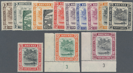 05077 Brunei: 1947/1948, 'Huts And Canoe And Water Village' With Mult. Script CA Wmk. Complete Set Of 14 I - Brunei (1984-...)