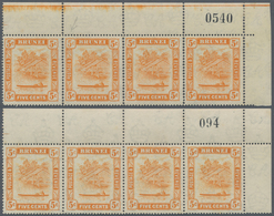 05078 Brunei: 1947/1950, 'Huts And Canoe' 5c. Orange Both Perforations In Horizontal Strips Of Four From U - Brunei (1984-...)