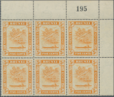 05079 Brunei: 1947/1950, 'Huts And Canoe' 5c. Orange Two Blocks Of Six From Upper Right Corners With Diffe - Brunei (1984-...)