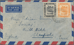 05081 Brunei: 1948, 5 C Orange And 50 C Black, Mixed Franking On Airmail Cover (small Faults) From KUALA B - Brunei (1984-...)