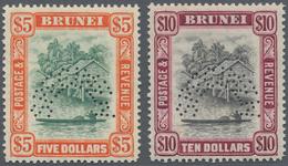 05083 Brunei: 1948, 'Huts And Canoe' With Mult. Script CA Wmk. $5 Green/red-orange And $10 Black/purple Bo - Brunei (1984-...)
