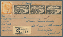 05093 Brunei - Stempel: BELAIT (type D4): 1929 (16.9.), Registered Cover Front From Belait With Black/whit - Brunei (1984-...)
